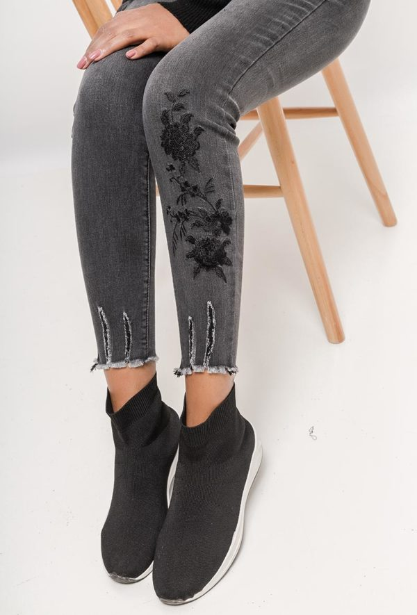 Jeans Grey Flower
